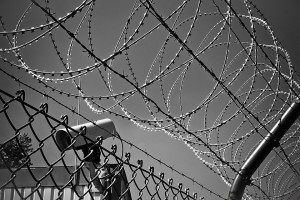 black and white barbed wire fence